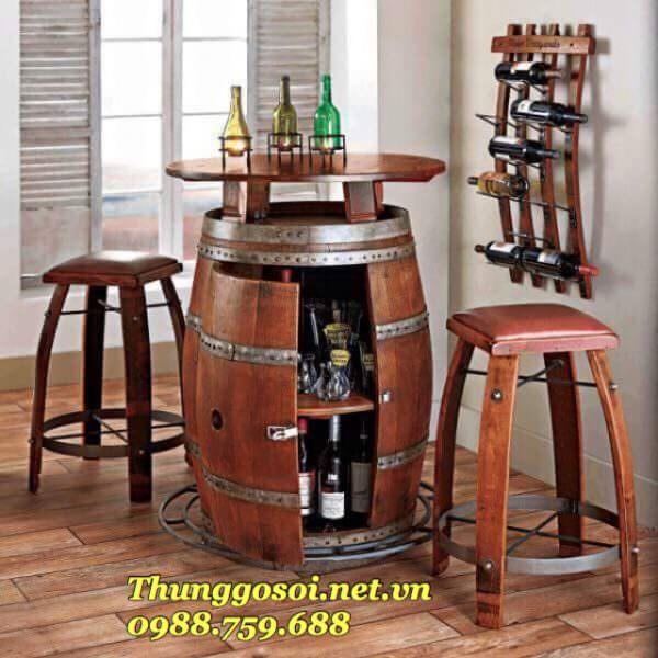 bàn thùng rượu trang trí quán bar