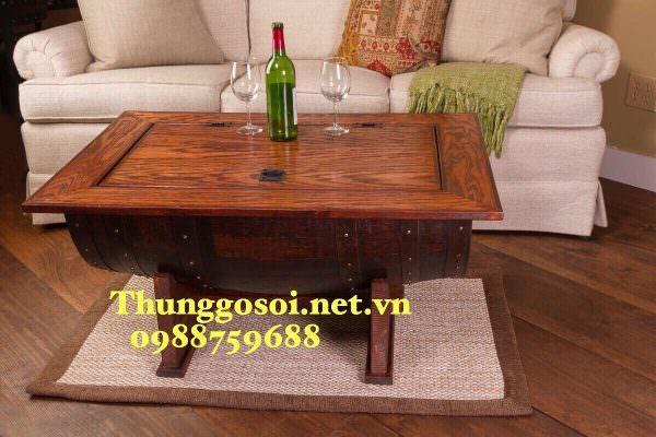 bàn thùng rượu bổ đôi