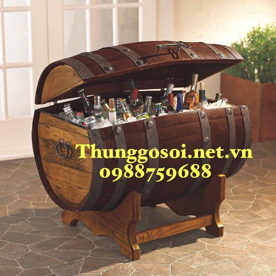 thùng gỗ đựng rượu ướp lạnh quán bar nhà hàng