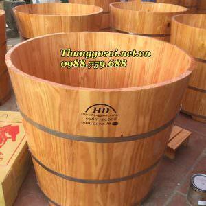 bồn tắm gỗ thông tròn chất lượng