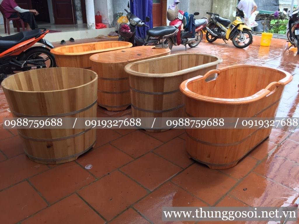 bồn tắm gỗ dài ovan