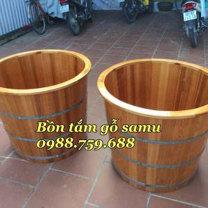 bồn tắm gỗ samu bo viền