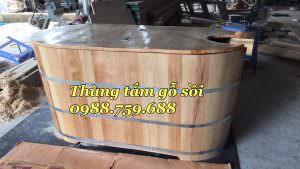 bồn tắm gỗ sồi hai chức năng
