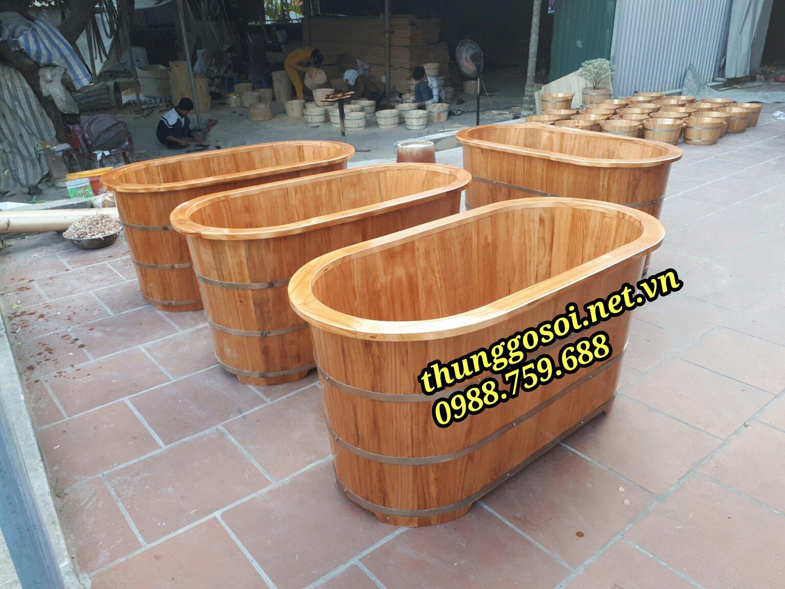 thùng tắm gỗ thông vân đẹp