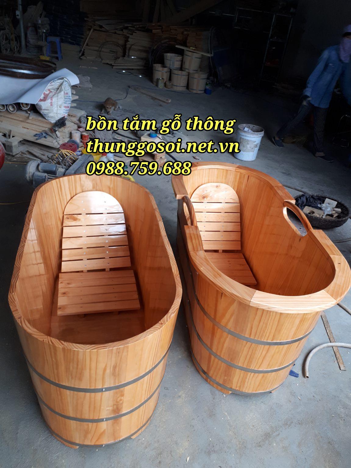 bồn tắm gỗ bo viền