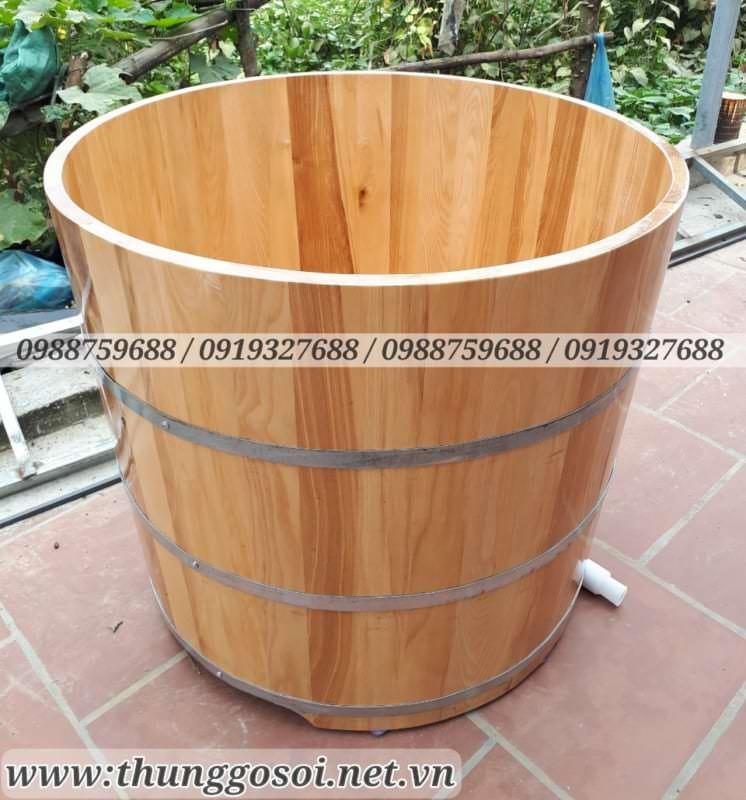 bồn tắm tròn gỗ sồi