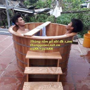 thùng tắm gỗ sồi đôi