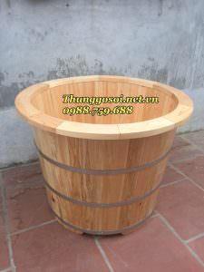 bồn tắm gỗ pomu tròn