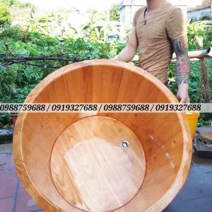 bồn tăm tròn gỗ thông