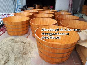 thùng tắm gỗ đôi