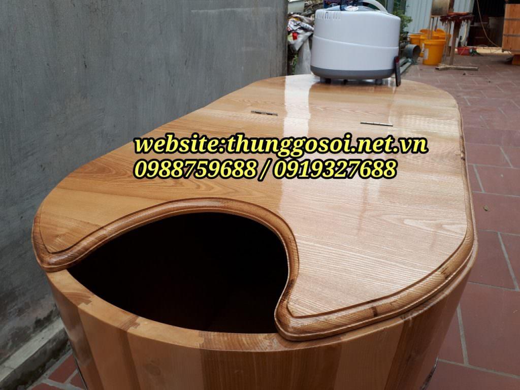 thùng tắm gỗ sồi xông hơi