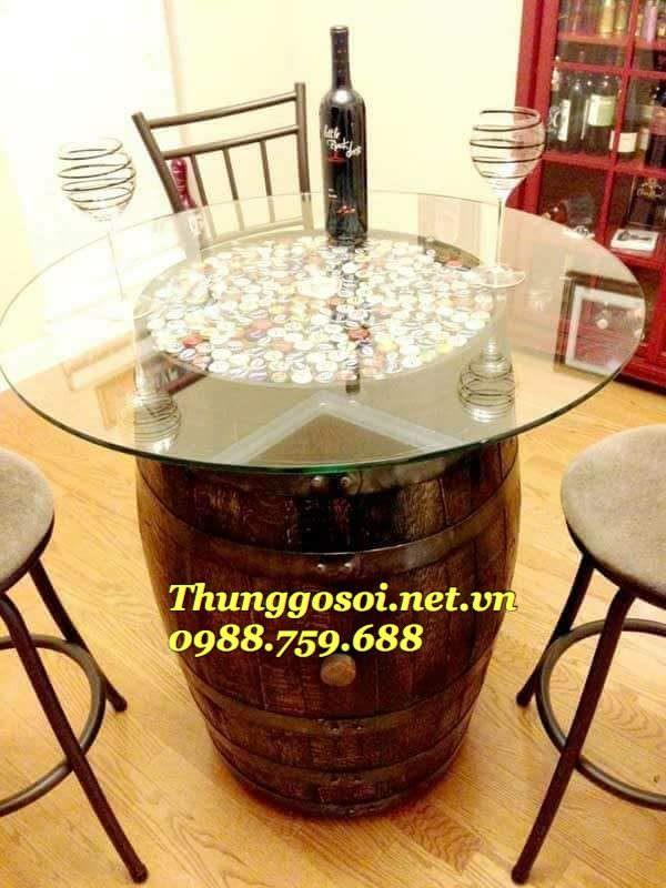 bàn ghế thùng gỗ trang trí