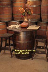 bàn thùng rượu trang trí nhà hàng giá rẻ