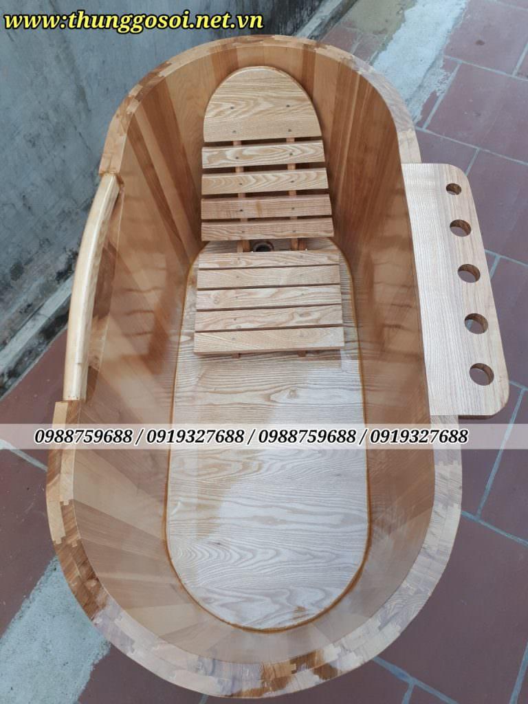 thùng tắm gỗ sồi cao cấp