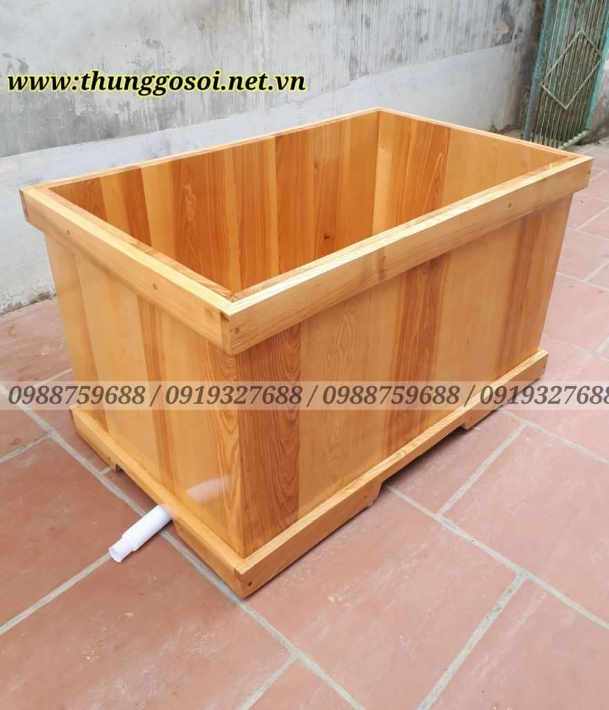 bồn tắm gỗ hình vuông góc