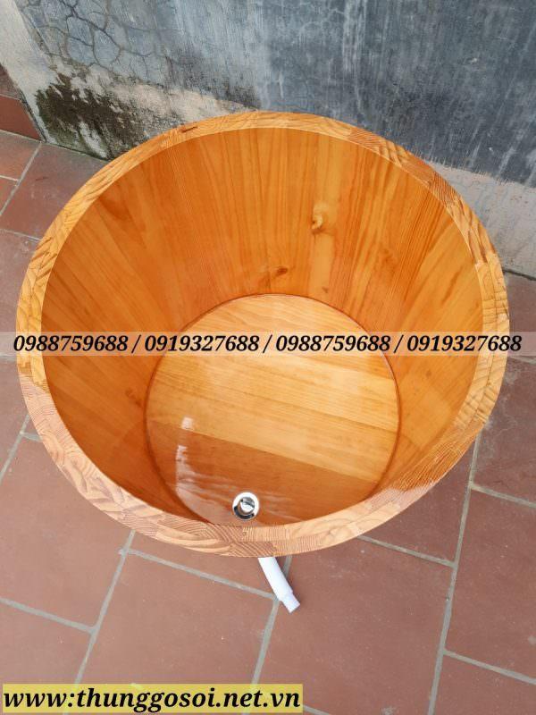 bồn tắm gỗ thông tròn