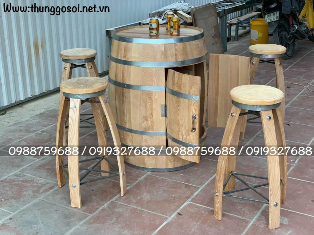 bàn trống rượu gỗ sồi