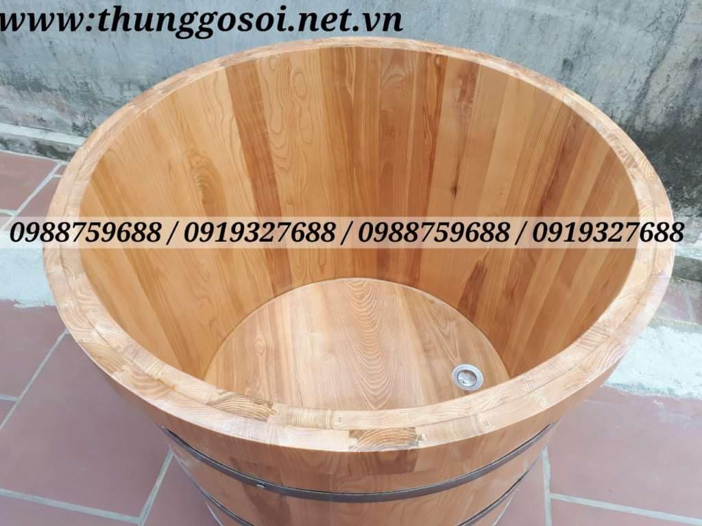 thùng tắm gỗ bo viền 2 lớp