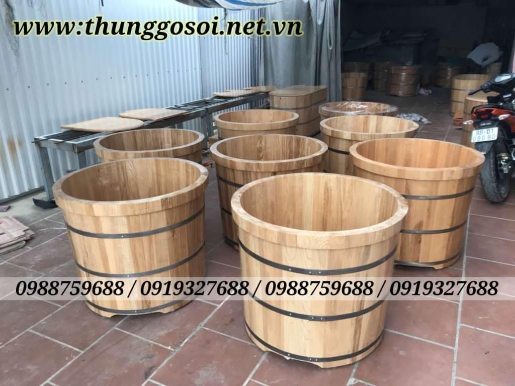 thùng tắm gỗ sồi dáng đứng