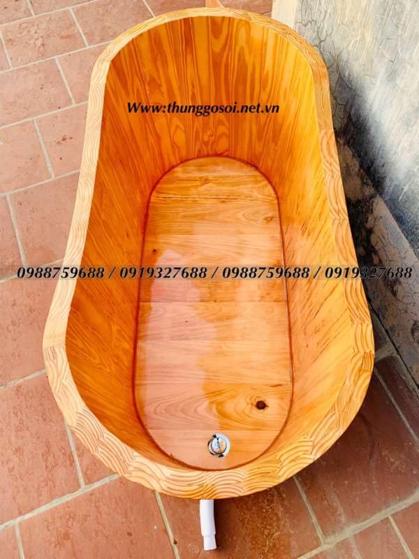 bán bồn tắm gỗ thông bo viền