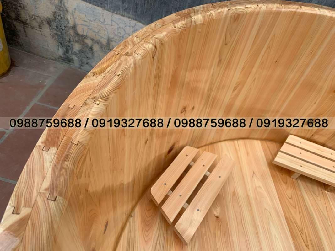 bồn gỗ pơ mu bo viền 2 lớp