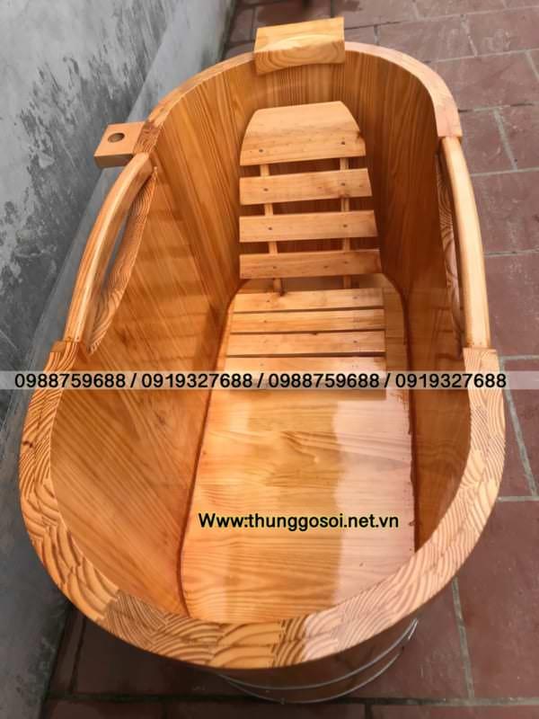 bồn tắm bằng gỗ thông có phụ kiện