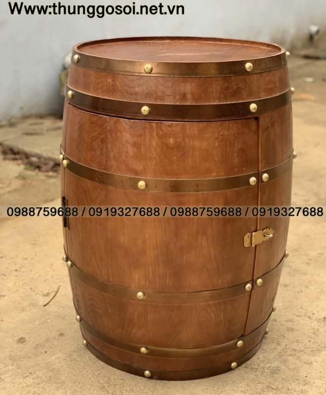 bàn thùng gỗ quán bar