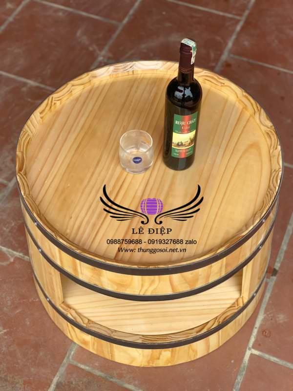bàn rượu thùng gỗ