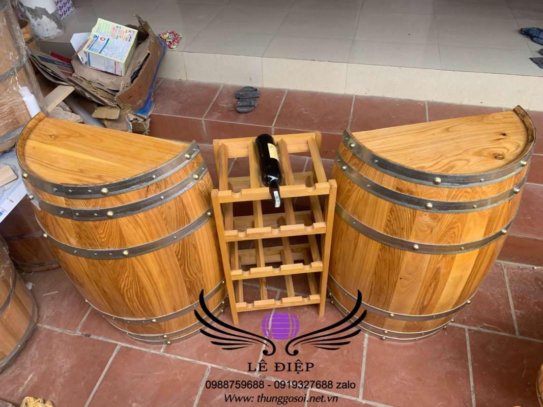 bàn thùng rượu gỗ quầy bar