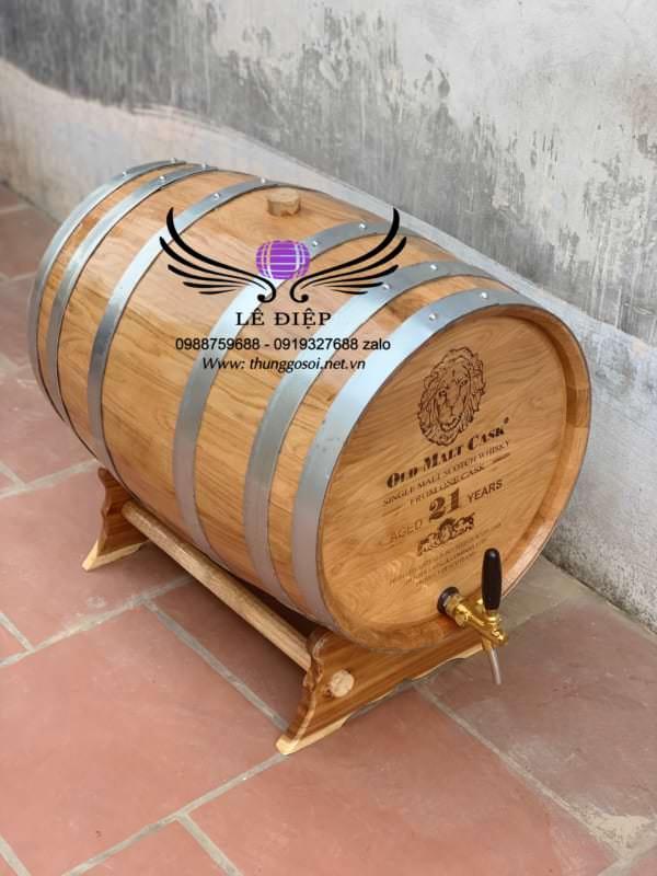 thùng rượu gỗ sồi khắc mặt laze