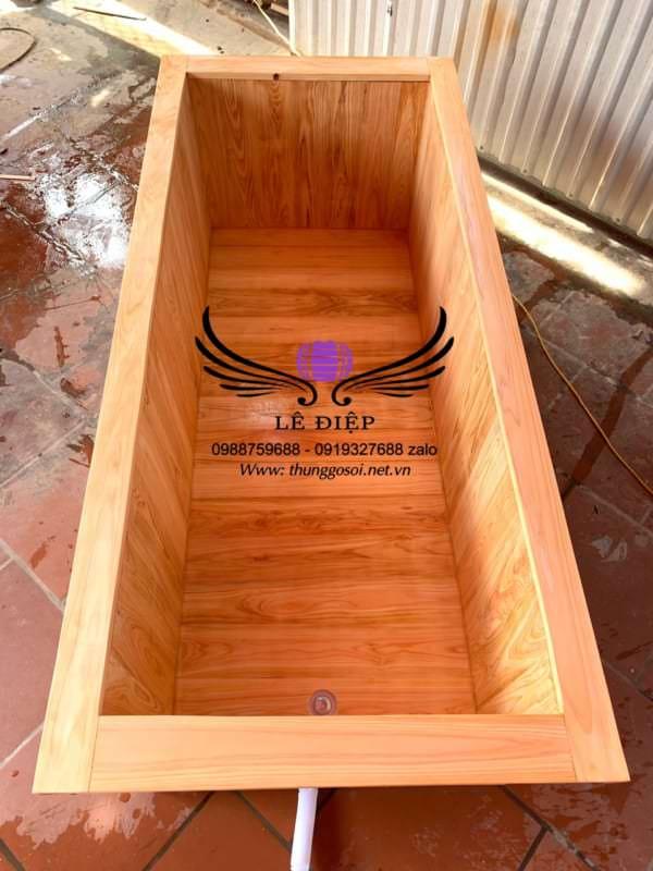 bán bồn tắm gỗ hình chữ nhật giá rẻ trên toàn quốc