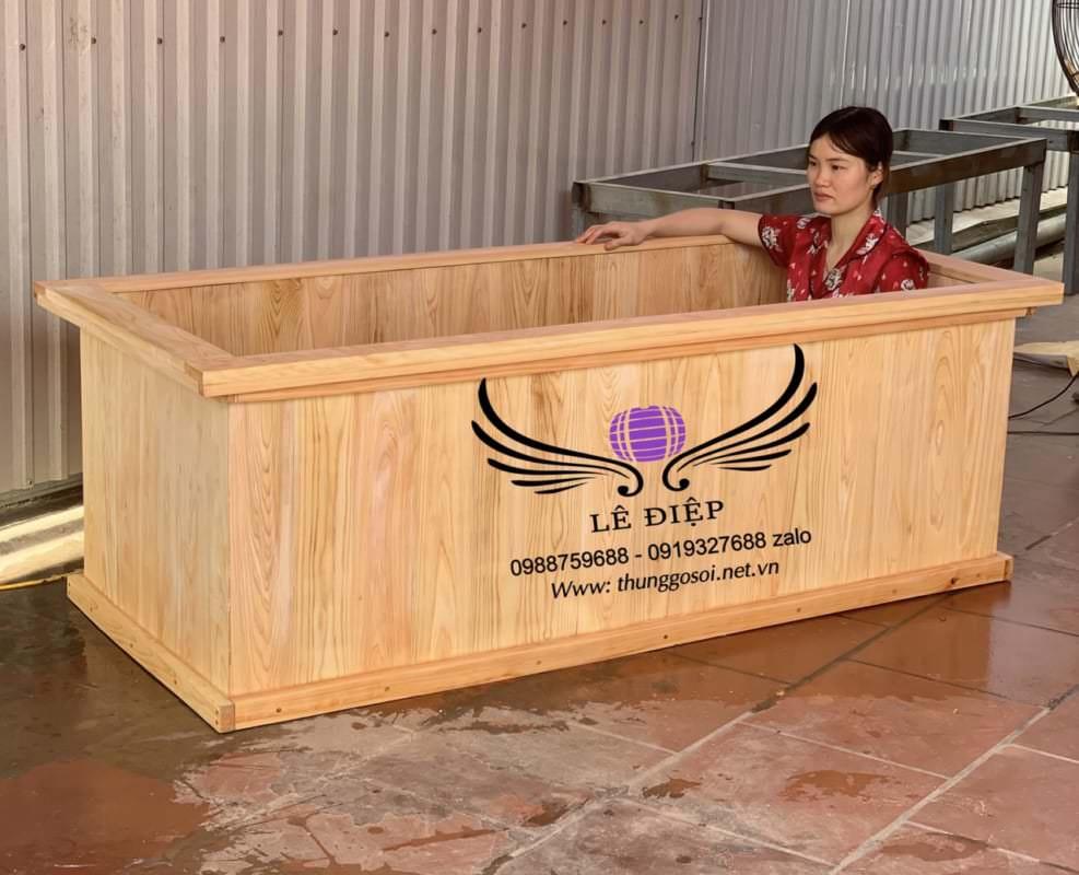 thùng tắm gỗ chữ nhật