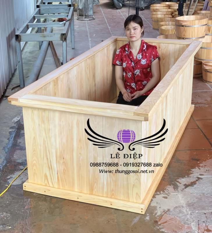 bán bồn tắm gỗ chữ nhật