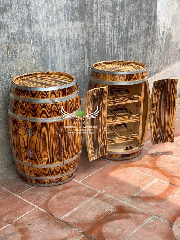 bàn thùng rượu gỗ trang trí quán bar
