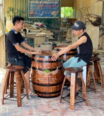 bán bàn ghế thùng rượu